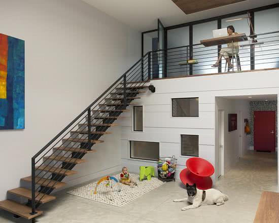 Loft com corredor para abrigar escritório