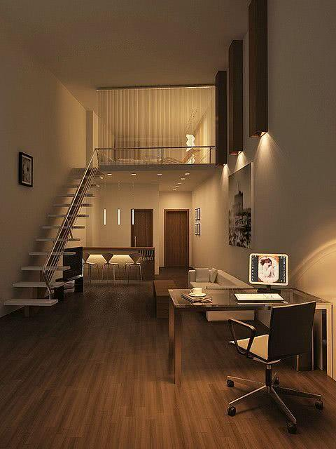 Loft moderno com home Office