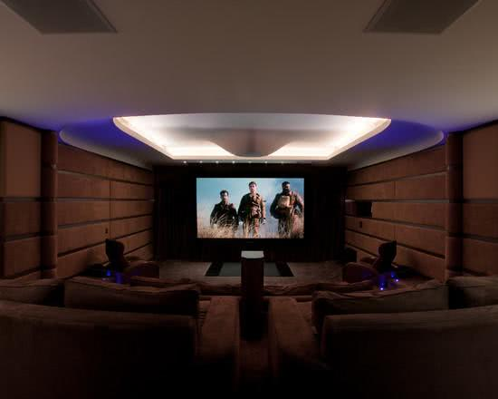 95 exemplos de decora o de home theaters em ambientes - Sala home cinema ...