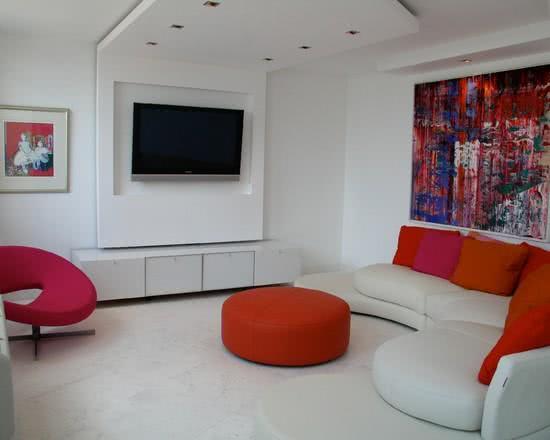 Sala De Tv Decorada Con Puffs ~ 95 Exemplos de Decoração de Home Theaters em Ambientes