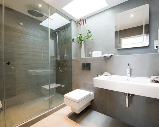 95 Modelos de Banheiros Decorados para te Inspirar -> Banheiro Moderno Marron