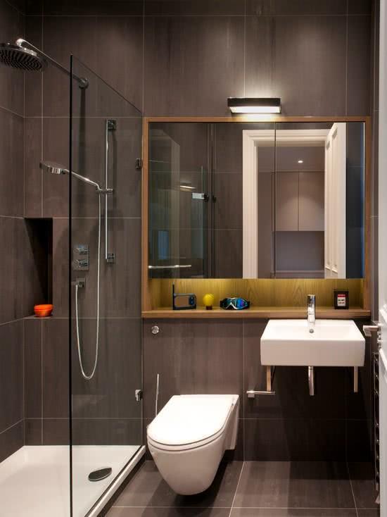 95 Modelos de Banheiros Decorados para te Inspirar -> Banheiros Modernos Escuros