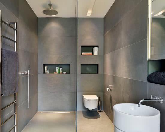 95 Modelos de Banheiros Decorados para te Inspirar -> Banheiro Decorado Cinza
