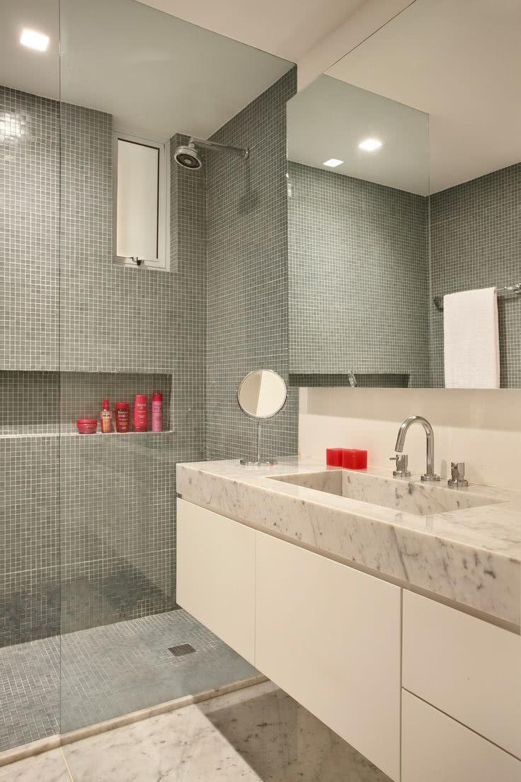 95 Modelos de Banheiros Decorados para te Inspirar -> Banheiros Modernos Azul