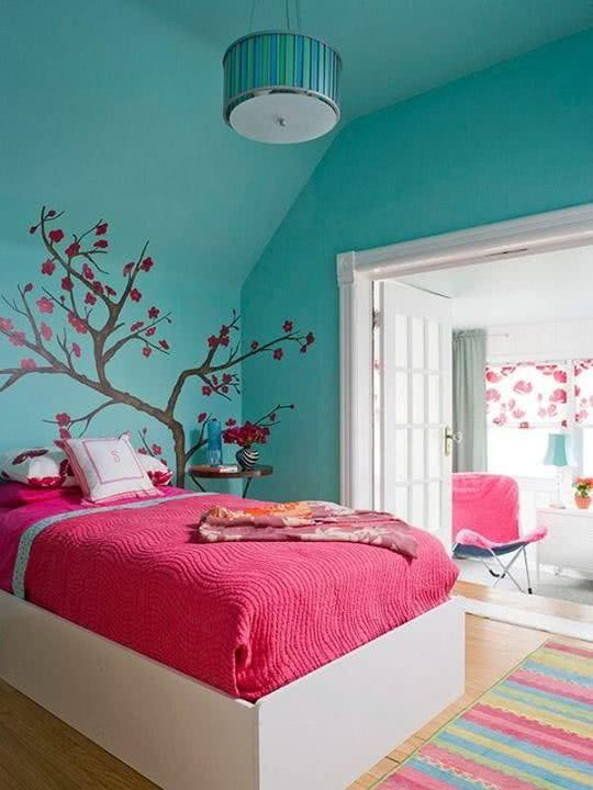 50 Quartos de Patricinha Decorados Incríveis ~ Quarto Rosa E Verde Agua