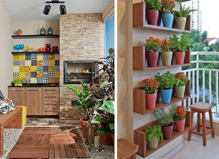 decoracao de apartamentos pequenos rustico : decoracao de apartamentos pequenos rustico:Imagem 13 – Varanga gourmet colorida com muitos vasos
