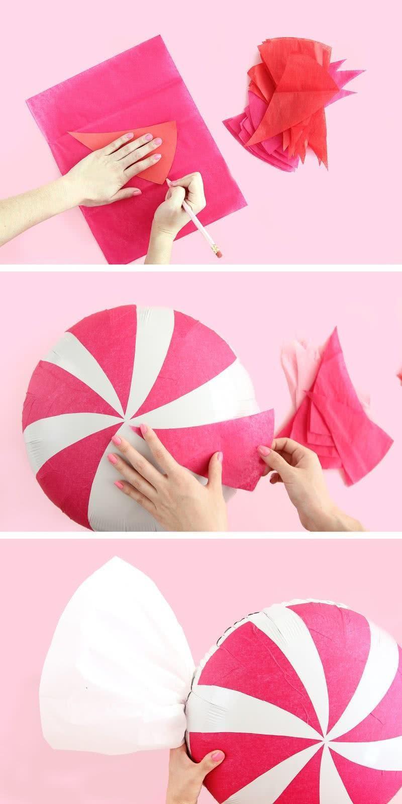 Passo a passo de como fazer balões natalinos.