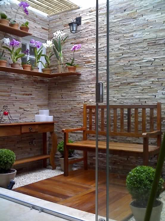 Jardim de inverno em parede pequena