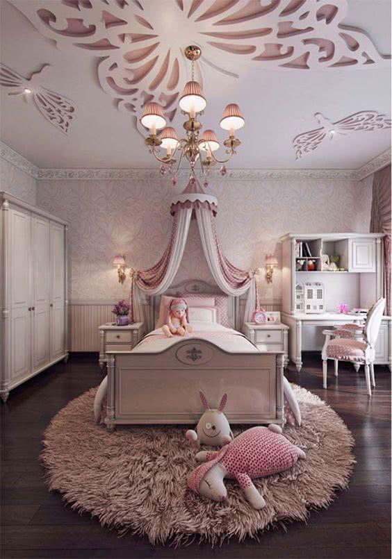 98 quartos de princesa decorados e inspiradores for Childrens butterfly bedroom ideas