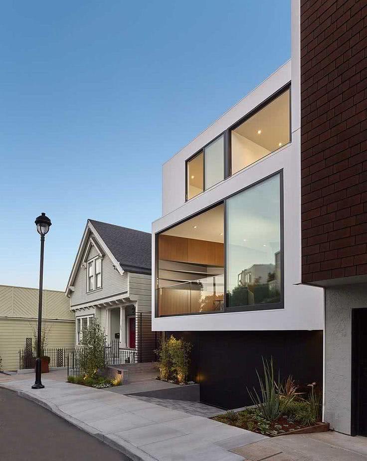 52 fachadas de casas com vidro para te inspirar for Moderne rijwoning