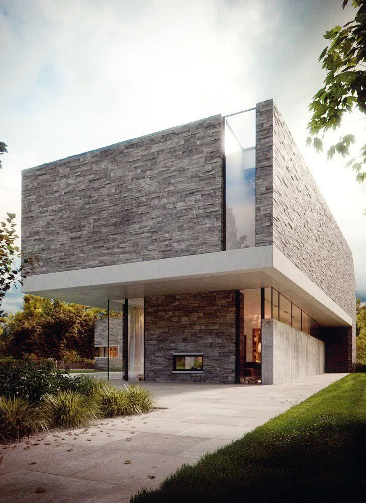 52 fachadas de casas com vidro para te inspirar for Casa moderna 4 ambientes