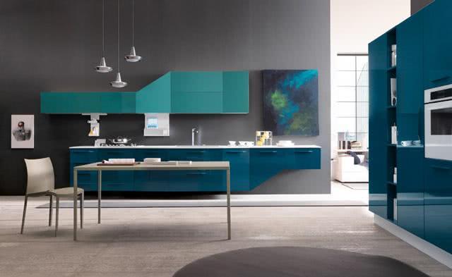 80 cozinhas coloridas decoradas arm rios e utens lios for Cocina pintura pato azul