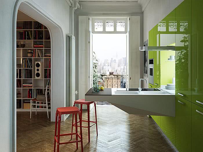 80 cozinhas coloridas decoradas arm rios e utens lios. Black Bedroom Furniture Sets. Home Design Ideas