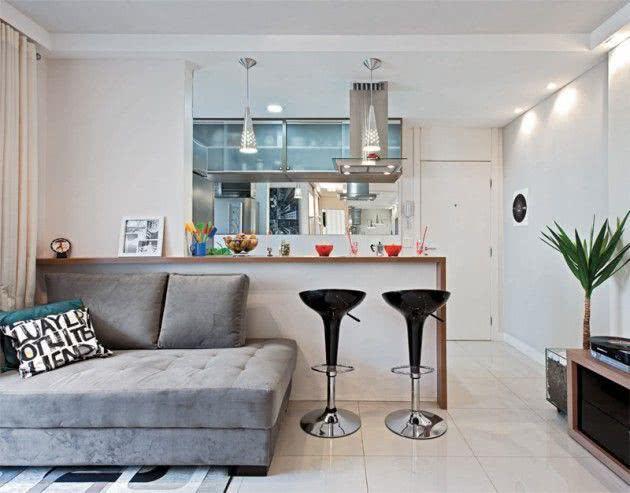 decoracao de cozinha integrada a sala de jantar:Cozinhas Americanas com Salas Interligadas – 60 Fotos