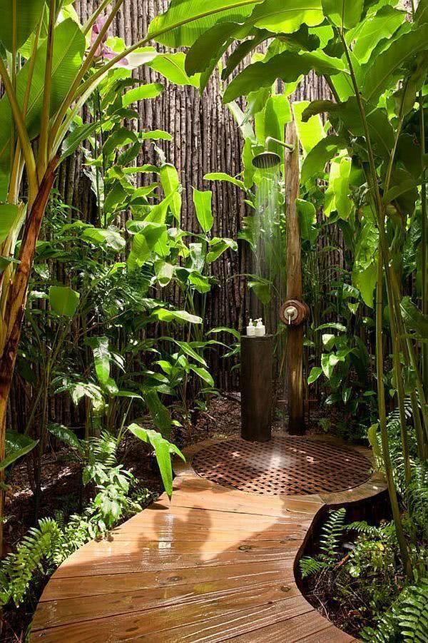 Jardim de inverno com chuveiro