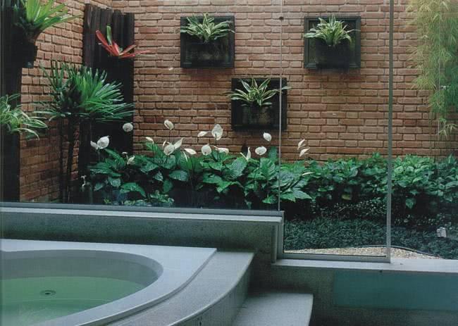 Jardim na lateral do banheiro com vidro