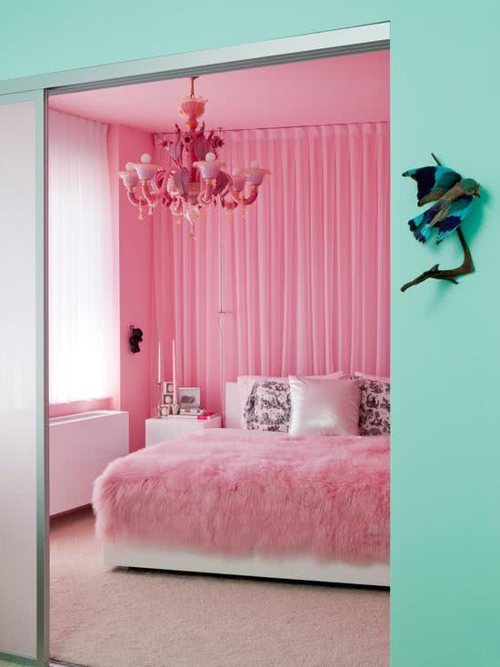 50 quartos de patricinha decorados incr veis for Cortina verde agua