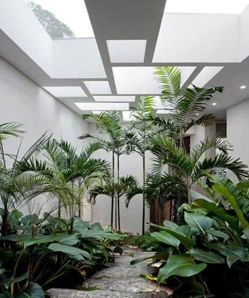 Decoração de jardim com cobertura