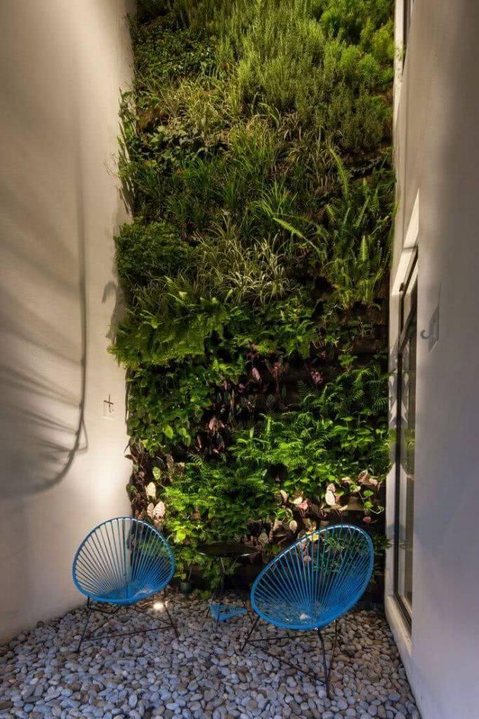 Jardim de inverno com parede verde