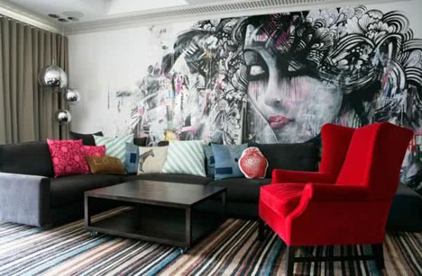 90 ambientes decorados com grafites e desenhos na parede - Unusual wallpaper for bedrooms ...