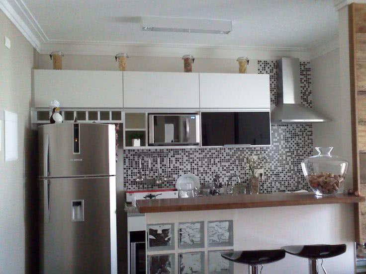 85 Cozinhas Decoradas com Pastilhas  Fotos e Aplicações # Cozinha Simples Com Pastilha