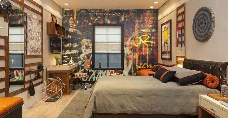 90 Ambientes Decorados com Grafites e Desenhos na Parede ~ Quarto Solteiro Decorado Masculino