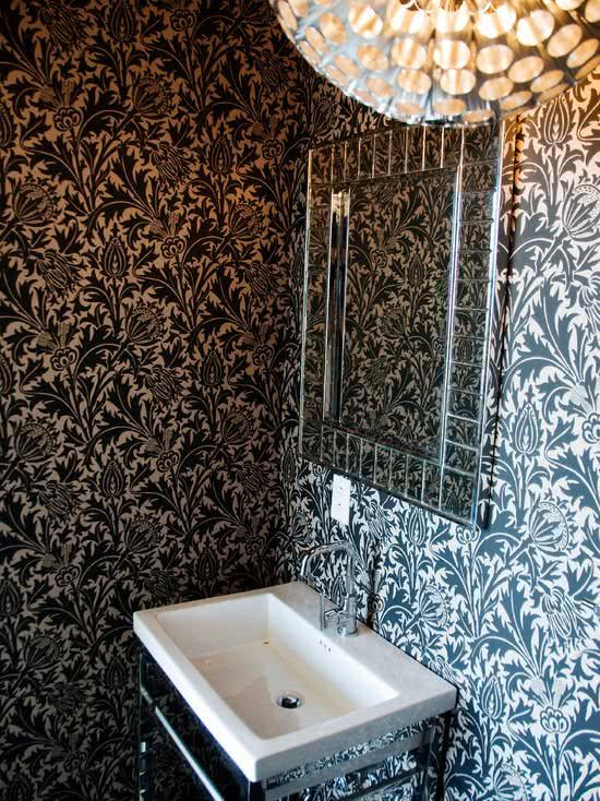 56 projetos de lavabos pequenos decorados fotos - Papel decorado para paredes ...