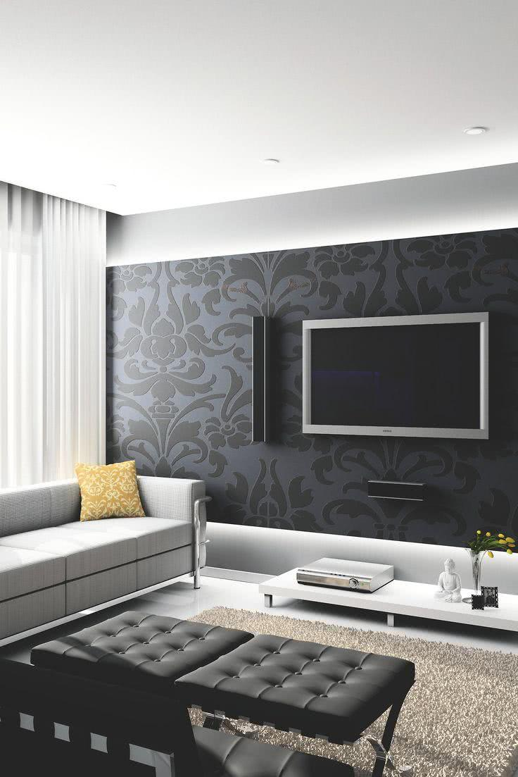 56 salas de tv decoradas com fotos para te inspirar for Fotos d salas