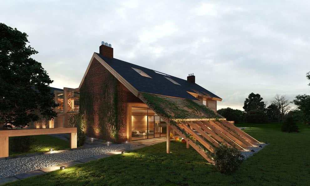 Neste projeto o telhado tem uma bela conexão de apoio com o chão, além de ser coberto por trepadeiras.