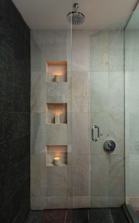 87 Ideias de Decoração com Nichos Modelos e Fotos! -> Nicho Banheiro Vertical