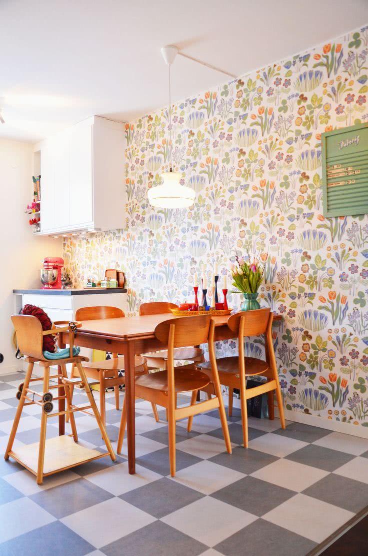 46 Fotos De Papel De Parede Para Cozinhas Na Decora O -> Modelos De Papel De Parede Em Forma De Flores