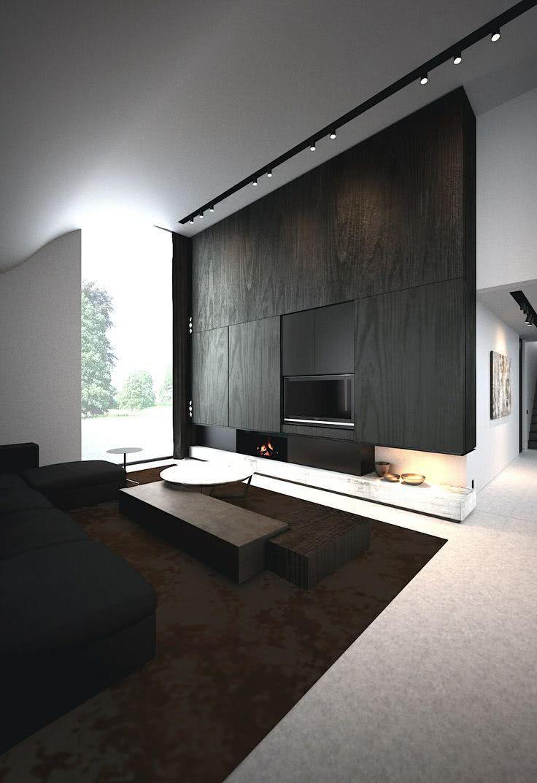 Sala escura com móveis de madeira preta