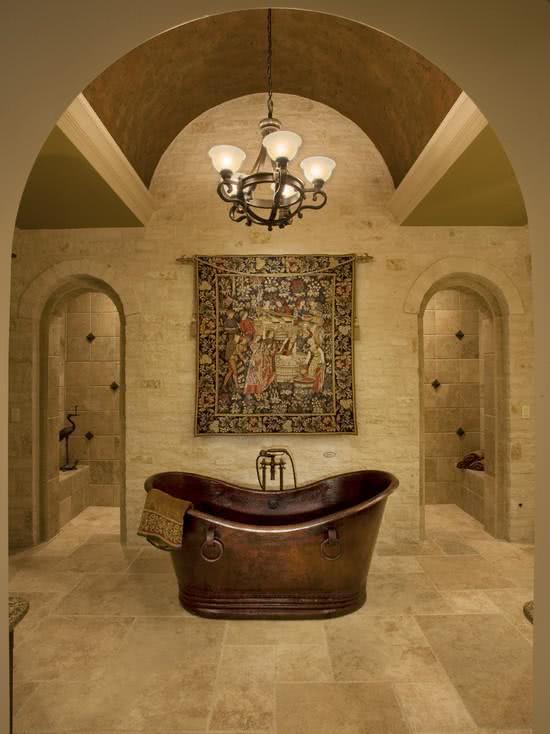 Banheira de cobre rústica