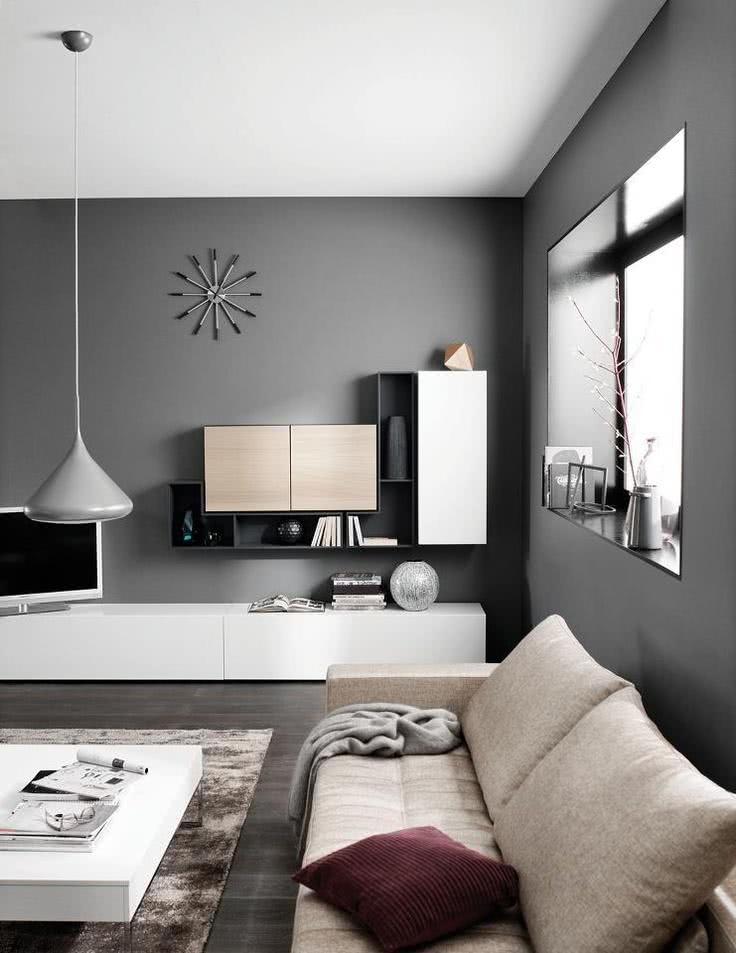 Sala Com Tv Na Parede ~ Imagem 05 – Sala clean e TV encaixada em nicho na parede
