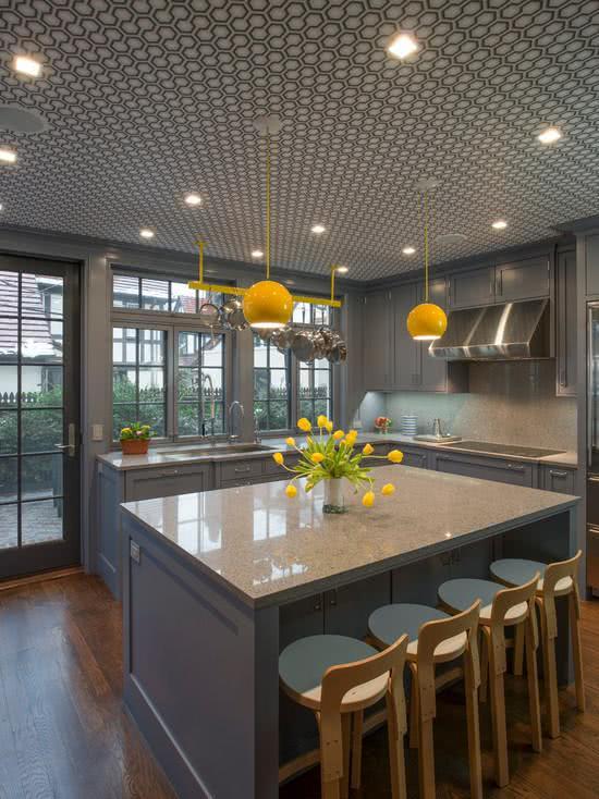 46 fotos de papel de parede para cozinhas na decora o for Deco cuisine jaune et gris