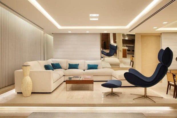 Iluminacao Para Sala De Estar E Tv ~ Imagem 12 – Placas de gesso na sala de estar