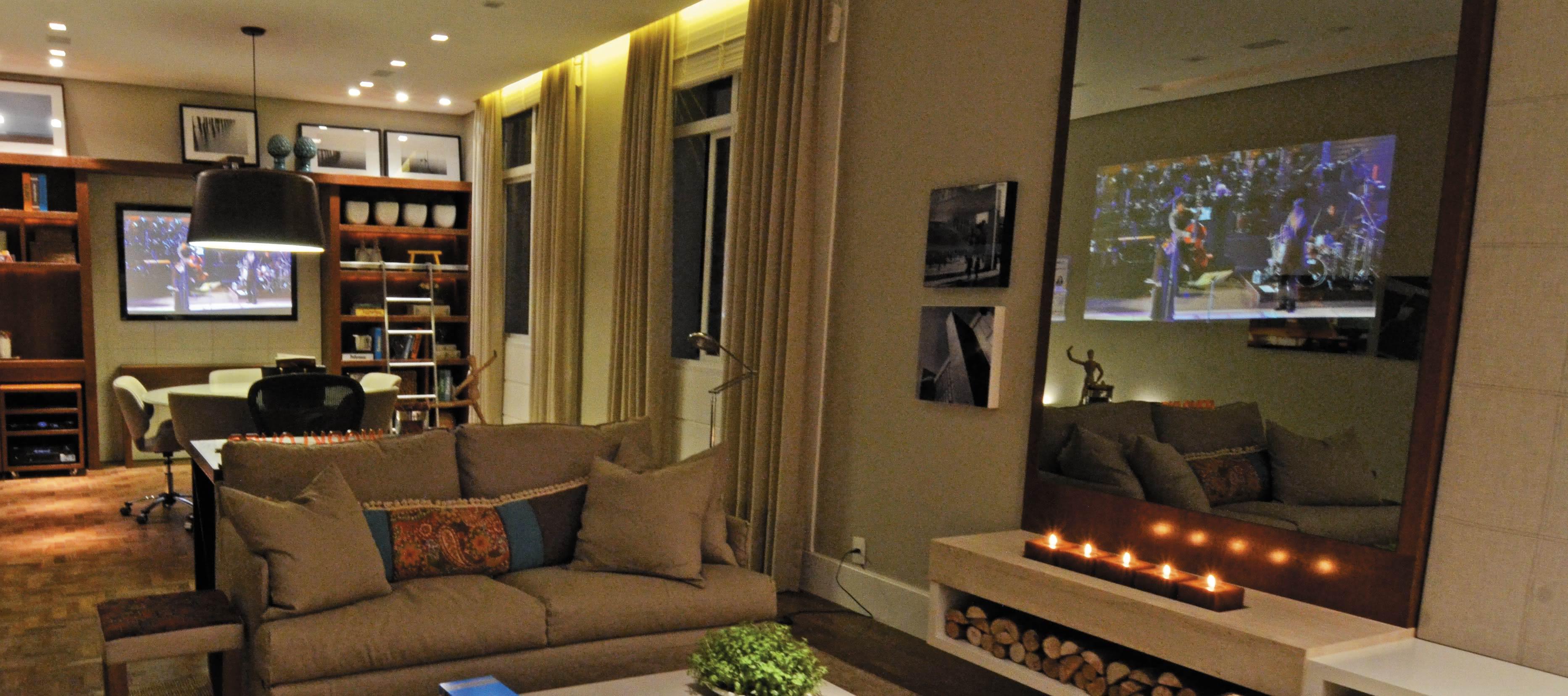 50 Tvs Embutidas Em Vidros Espelhos E Portas Decoradas -> Sala De Tv E Som