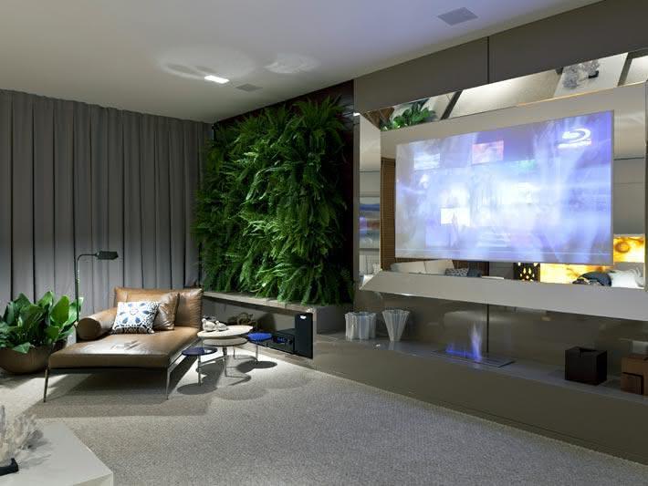 Sala De Tv Decorada Fotos ~ 50 TVs Embutidas em Vidros, Espelhos e Portas Decoradas