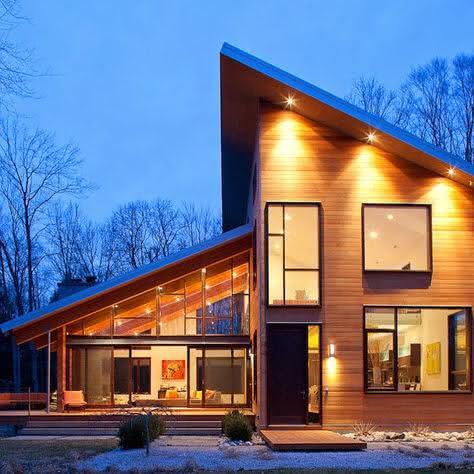 Fachada com janelas modernas