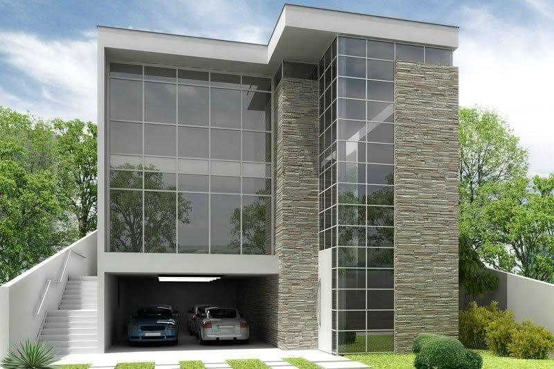 90 fachadas de sobrados modernos projetos incr veis - Fachadas con azulejo ...
