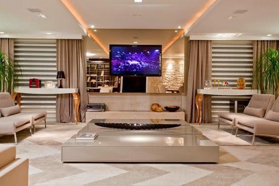 Painel De Tv Com Espelho Para Sala ~ 75 Modelos de Espelho Bronze na Decoração de Ambientes