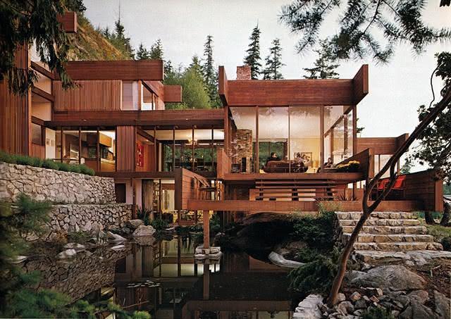 Um belo projeto de fachada para uma residência em níveis.