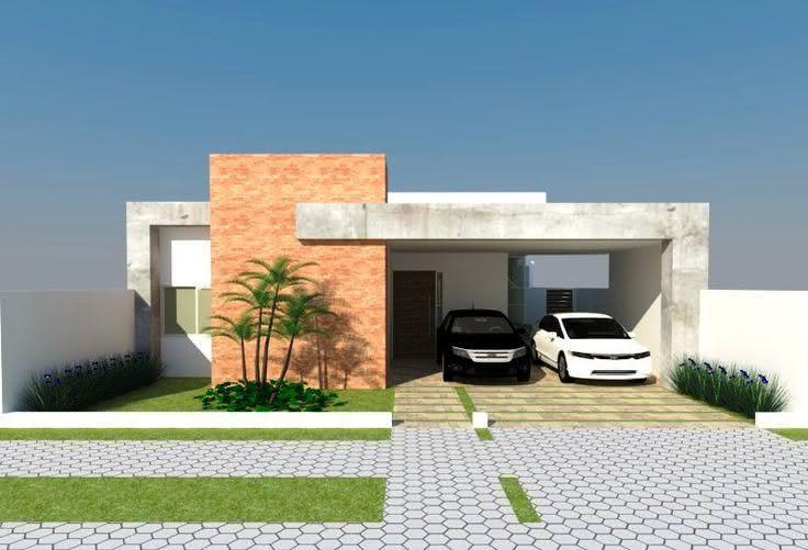 Tijolinho a vista e concreto para uma fachada moderna.