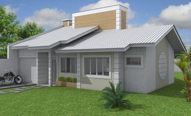 109 fachadas de casas simples e pequenas fotos lindas for Modelos de chalets de una planta