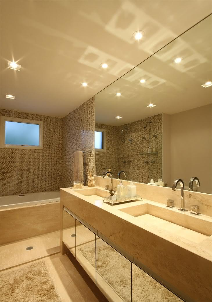 60 Bancadas de Banheiros e Lavabos para te Inspirar -> Tampo E Cuba Para Banheiro