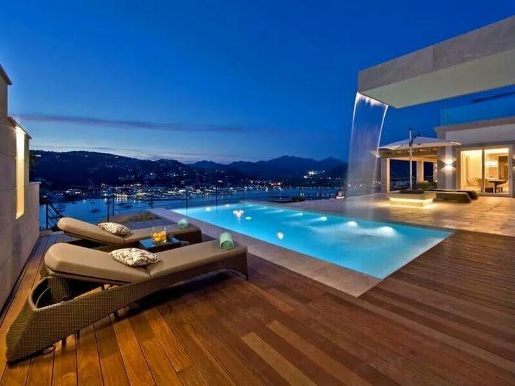 Cascata para piscina de concreto