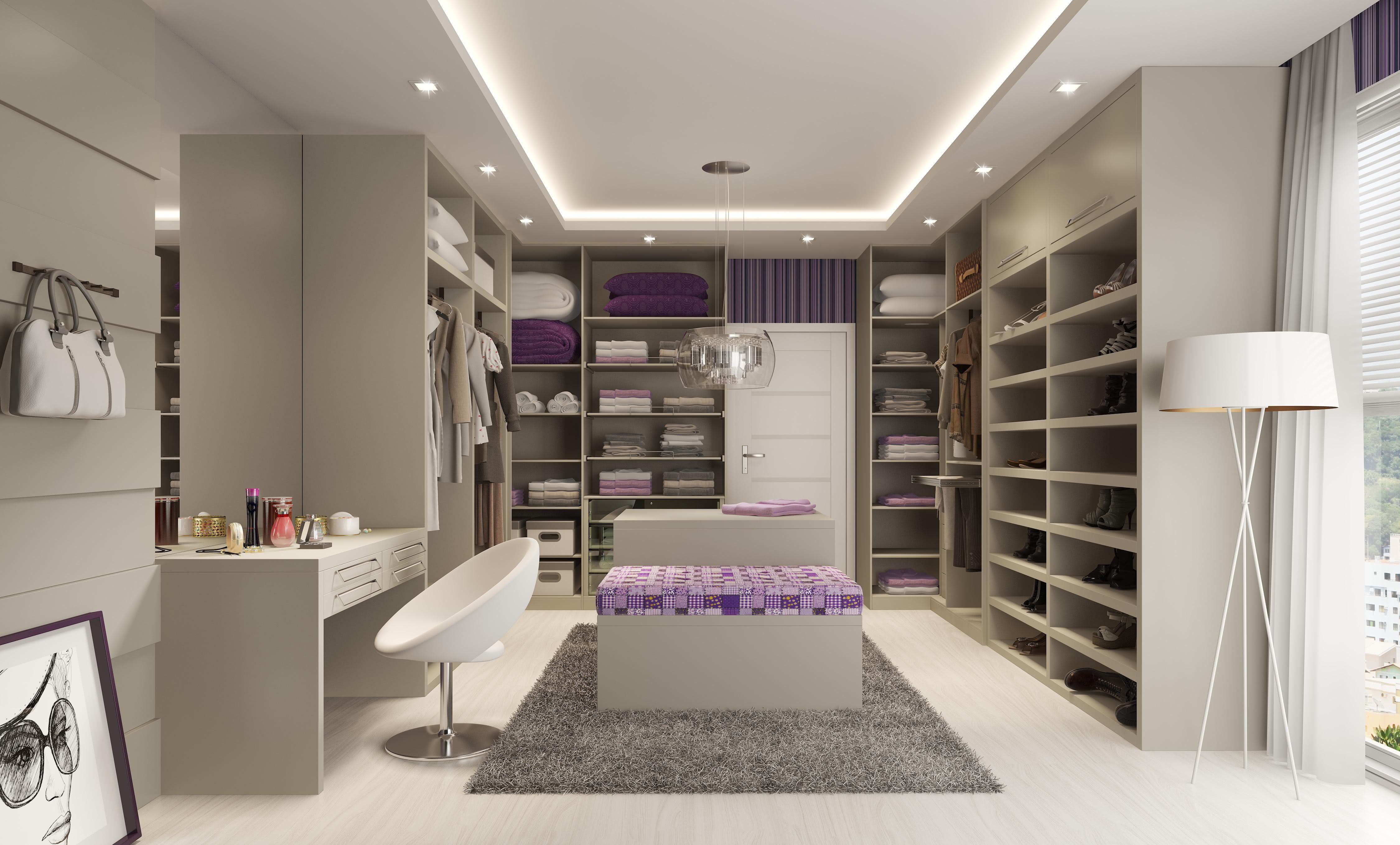 #4F385C 50 Closets Femininos Decorados Incríveis Fotos 4500x2716 px quarto simples com banheiro e closet