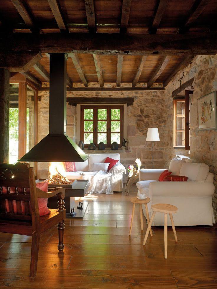 50 fotos de decora o r stica em ambientes for Sala de estar de madera