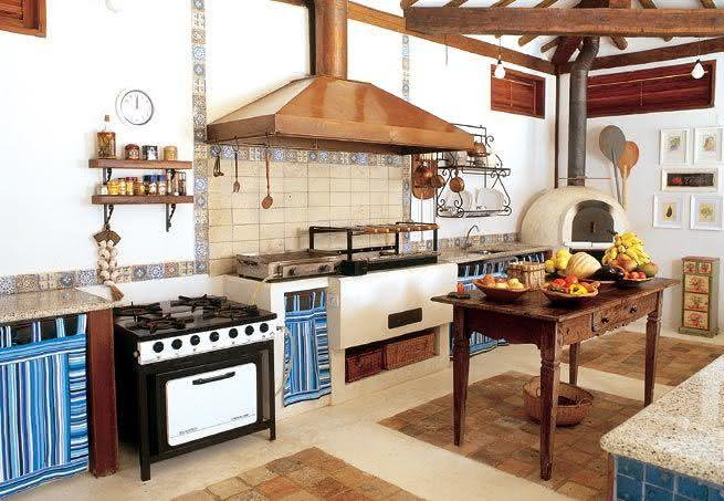 90 Cozinhas com Fogão a Lenha para o Seu Projeto # Bancada De Pia De Cozinha Rustica