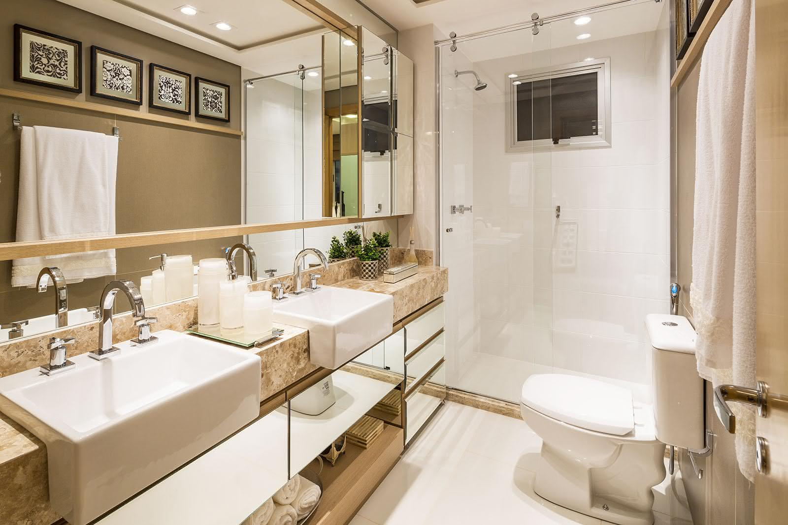Imagem 21 – Bancada de banheiro com cores neutras #515924 1600x1067 Banheiro Com Bancada Branca